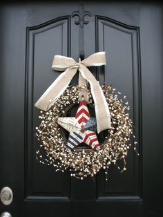 Red White and Blue PATRIOTIC Berry Wreath by twoinspireyou on Etsy, $70.00