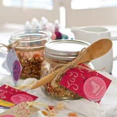 Homemade granola in mason jars is a fun & tasty holiday gift.
