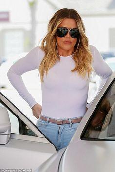 Khloe Kardashian wearing Porsche Design by Carrera 5621 Aviator Sunglasses, Good American Good Waist Crop Jeans and Dsquared2 Riri Sandals