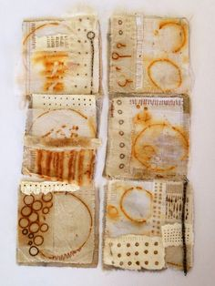 Julia Wright, rust dyed fabric collages by nikki Shibori, Art Textile, Textile Artists, How To Dye Fabric, Fabric Art, Impression Textile, Motifs Textiles, Tea Bag Art, Fabric Journals