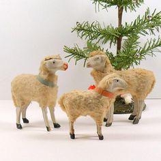 Christmas Wooly Sheep Putz Germany Erzgebirge Stick Leg Sheep