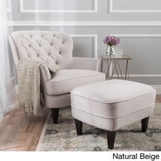 Tafton Tufted Fabric Club Chair with Ottoman by Christopher Knight Home (Natural Beige) (Polyester Blend)