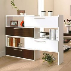 Room divider storage for living room. Use of open shelving with closed cabinets.