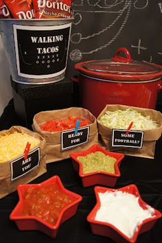 Walking Tacos - These are great for a party. Buy small bags of chips, crush the chips, open the bag, add taco meat and toppings to the bag.