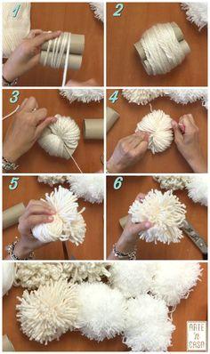 Pom Pom Crafts, Yarn Crafts, Tapetes Diy, Diy Tassel, Tassels, Diy Teddy Bear, Bead Embroidery Patterns, Flower Pillow, Diy Home Crafts
