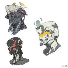 Head #robot #game #cyborg #scifi #armor #conceptart #design