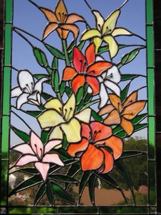 Stained Glass Panel - Tiger Lilies - Multi-colored - Handcrafted. $800.00, via Etsy.