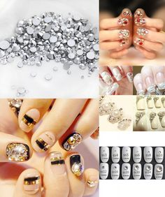 [Visit to Buy] Mix Sizes Nail Rhinestones Silver Flat Back Non Hotfix Rhinestone Glitter Nail Stones,DIY 3d Nail Decorations Supplies  #Advertisement