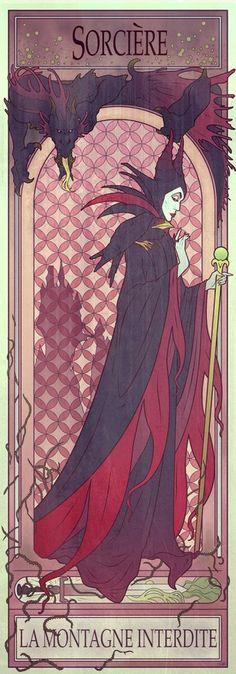 A Mucha-esque print of Maleficent