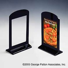"""Different looks """"4 x 6 Sign Holder for Tabletops, Cut-out Window, Curved Top - Black"""""""