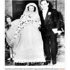 Yogi Berra and his wife Carmen Short on their wedding day 1949