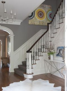 Moulding goes all the way up on the stairs.