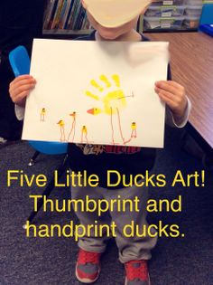 Five Little Ducks thumb and handprints. We did this art project to go with the Five Little Ducks Speech and Language Unit from Speech Sprouts. Click here to see it on TpT. Adorable!