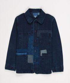 The Blue Blue Japan Indigo Dyed Patch Jacket is an indigo dyed denim coat with three exterior pockets with button closure.