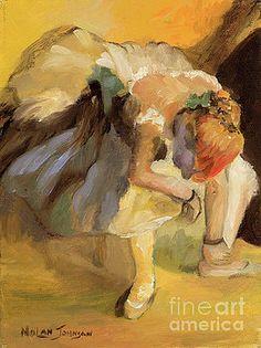 Waiting after Edgar Degas by Marilyn Nolan-Johnson by Marilyn Nolan-Johnson