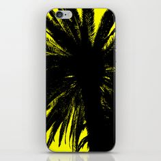 Palm Trees Silhouette - Yellow Sunrise iPhone & iPod Skin
