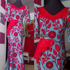 The ruby dress,one sided peplum mermaid dress, perfect for a wedding guest at an african wedding...