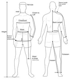 measuring a suit images mens diagram - Google Search