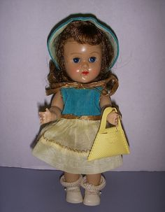 """Vintage 1955 Vogue Ginny Doll in Original Tagged """"And Away We Go"""" Outfit #56!"""