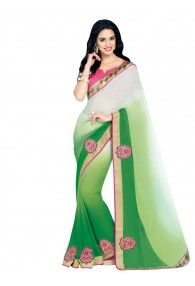 Shonaya Green & Cream Colour Designer Georgette Patch Work Saree with Blouse Piece