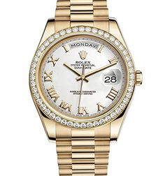 Rolex Day-Date II Yellow Gold Diamond Bezel Watch 218348 – Houffpauir Swiss Watches Buy Rolex, Men's Rolex, Rolex Submariner, Rolex Day Date, Swiss Army Watches, Elegant Watches, Stylish Watches, Beautiful Watches, Seiko Watches
