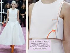 Bust Shaping with Panel Lines at Dior | The Cutting Class. Christian Dior, SS15, Haute Couture, Paris, Image 10. Dior darts and panels have been accentuated with topstitching.