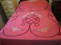 Vintage Cotton Chenille Bedspread - Beautiful Rose Color - 83 x 103 Inches