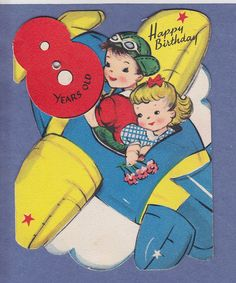 0214GH VTG BIRTHDAY GREETING CARD 8 YEARS OLD BOY GIRL FLY IN AIRPLANE GIBSON