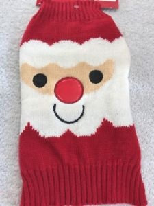 Dog Sweater Size Small Pet Clothes Red Knit With Big Santa Face Red Trim    eBay