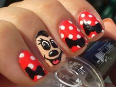 Minnie Mouse - Disney Nails for Halloween--- without the face tho :) Nail Art For Girls, Nails For Kids, Girls Nails, Cartoon Nail Designs, Cute Nail Art Designs, Fancy Nails, Cute Nails, Pretty Nails, Minnie Mouse Nail Art
