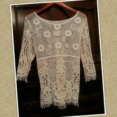 FINAL PRICE! Crochet Top 3/4 sleeve crochet cream short. New condition. Beautiful classy shirt. Thanks for shopping :) Phase One Tops