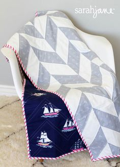 Out to Sea Quilt: Grey Herringbone