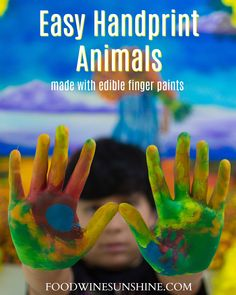 This Easy Handprint Animals Craft is a fun activity for kids. Use the edible finger paint recipe see what animals the kids will create. Animal Crafts For Kids, Craft Projects For Kids, Fun Activities For Kids, Arts And Crafts Projects, Fun Crafts To Do, Easy Diy Crafts, Diy Crafts For Kids, Hand Print Animals, Edible Finger Paints