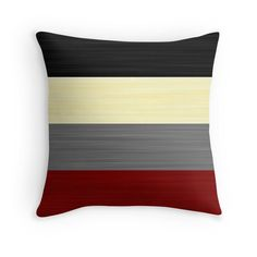 Brush Stroke Stripes: Black, Cream, Grey, and Red Throw Pillows