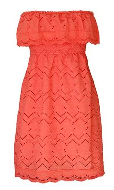 Coral, Ruffled, Strapless Dress