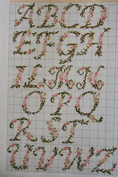 Drawings for letters of the alphabet embroidered . - Cross stitch floral alphabet patterns for alphabet lettering You can combine them with … - Monogram Cross Stitch, Cross Stitch Alphabet Patterns, Cross Stitch Designs, Stitch Patterns, Cross Stitch Samplers, Cross Stitching, Cross Stitch Embroidery, Etsy Embroidery, Embroidery Stitches Tutorial