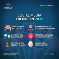 2020 the year of - what are the trends for this year! Be ready - we can help you at Pixelette Technologies Contact Pixelette Technologies find out how we can help you. Tell: 0311 4612831 Email: info web: pixelette. Application Development, Web Application, App Development, Social Media Trends, Social Media Marketing, Digital Marketing, It Service Provider, Information Literacy, Cloud Infrastructure