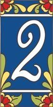 """3"""" X 6"""" Ceramic Tile Address House Number Talavera Cobalt Blue #2 TWO by Earthtones. $8.90. Indoor or Outdoor Use. Italian Red Quarry Tile. Hand-Glazed. Kiln-Fired at over 1800 Degrees. Weatherproof and Fadeproof. Hand-glazed decorative ceramic tile house numbers come in a variety of styles to suite your individual taste. Display your address number alone or pair it with one of our 3""""x6"""" deco tiles or 6""""x6"""" designs. House numbers can be inlayed directly, or we offer easy to a..."""