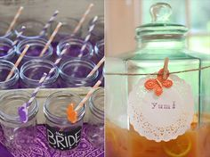 rustic bridal shower drinking glasses with chalkboard (photo by jamie zanotti, styled by becky hart of bow ties and bliss)