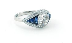 Platinum calibre Sapphire Diamond engagement ring with centre diamond weighing 1.24ct K VS2 diamond  £9500  http://www.luciecampbell.com/engagement-rings/All-Categories/All-Cuts/1237---9/  richard@luciecampbell.com  Lucie Campbell Jewellers Bond Street London  http://www.luciecampbell.com