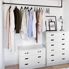 Feast your eyes on one of my most favorite design hacks: dressers in a closet. This is a perfect solution for #smallspaces rentals or any closets that haven't been customized. And don't just think bedroom closets...a small dresser in a front coat closet can hold hats scarves your doggie leashes and loads of candy Ok kidding about the candy. Kinda. #designtip [ via Tumblr source unknown] by ericareitman