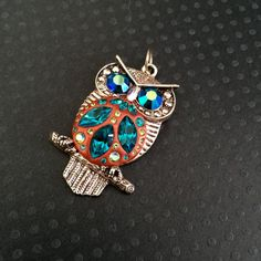 Blue Zircon Aqua and Green Owl Pendant Vintage