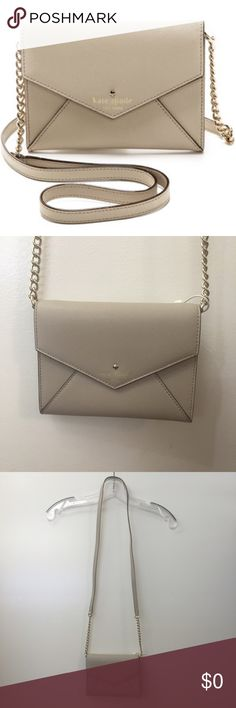"LAST CHANCE❗️Kate Spade Cedar St Monday Crossbody NWOT go to designer purse! Designed with a hands free strap and just enough room for your must haves. Made out of Saffiano leather with pale golden hardware. Removable 22"" drop chain-inset crossbody strap. Envelope-style with flap top and snap closure. Stamped logo and spade medallion. It holds 3 credit cards. Dimensions 5""H X 6 1/2""W X 1/2""D. Pristine condition. Open to reasonable offers! kate spade Bags Crossbody Bags"