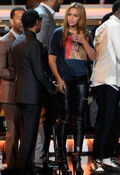 bcddbcd4240 Beyonce Knowles wearing Zara leather pants at Stevie Wonder  Songs In The  Key Of Life