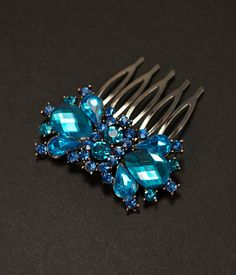 Turquoise Teal Blue Crystal Bridal Hair Comb, Vintage Inspired Hairpiece, Rhinestones, Bridal Hair Accessory, Crystal Headpiece