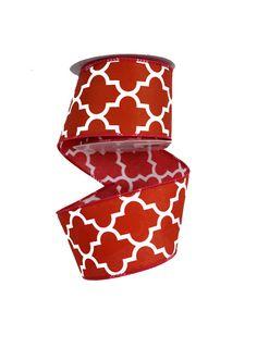 2.5 Moroccan Geometric Print Ribbon Red 10 by CustomWreathDecor