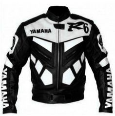 Yamaha R6 Black white Scooter biker Leather Jacket Men
