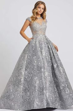 Mac Duggal Evening - Pearl Beaded Embroidered Ballgown In Gray Top Dress Designers, Designer Dresses, Cap Sleeve Gown, Cap Sleeves, Lace Evening Gowns, Mac Duggal, Bride Gowns, Types Of Dresses, Pageant Dresses