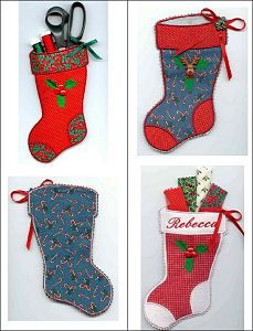 """""""2-Hoop Applique Holiday Stocking"""" 4 festive stockings with 8 years to choose from, add a name for even more personalization! Fast, fun, and beautiful!"""