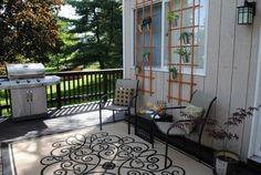 Creating vertical herb garden exterior decking lattice metal pot hung up